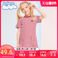 Dress 002s black and white stripe 003s red and white stripe female baleno junior 110cm 120cm 130cm 140cm 150cm Cotton 94.2% polyurethane elastic fiber (spandex) 5.8% spring and autumn princess Short sleeve stripe cotton A-line skirt 8721212G372 Class B Spring 2021 12, 14, 4, 6, 5, 8, 7, 11, 9, 10, 13