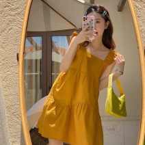 Dress Mango yellow (high quality spot), cream blue (high quality spot) S,M,L,XL,XXL Korean version Sleeveless routine summer One word collar Solid color cotton