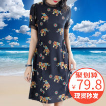 Dress Spring 2021 Black [quality version available] M,L,XL,2XL,3XL,4XL Mid length dress singleton  Short sleeve commute stand collar Loose waist Decor Socket A-line skirt routine Others 30-34 years old Type A Guangyue lady Fold, button, print More than 95% Crepe de Chine silk