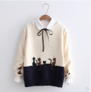 Wool knitwear Autumn of 2019 Average size Navy, off white, cap blue, cap pink Long sleeves singleton  Socket cotton 31% (inclusive) - 50% (inclusive) Sweet easy Low crew neck Color matching Socket