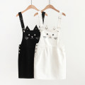 Dress Summer 2021 White, black M, L Short skirt singleton  Sleeveless Sweet High waist Solid color Socket A-line skirt straps 18-24 years old Type A Embroidery, pockets, stitching, buttons Denim solar system