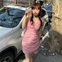 Dress Summer 2021 Pink S, M Short skirt singleton  Sleeveless V-neck Broken flowers zipper camisole