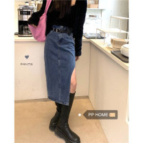skirt Spring 2021 S,M,L Blue ( With belt) Short skirt Retro High waist other Solid color Type A 18-24 years old 71% (inclusive) - 80% (inclusive) other other pocket