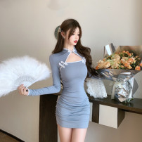 Dress Autumn 2020 Blue, pink S,M,L Short skirt singleton  Long sleeves commute stand collar High waist Solid color Socket One pace skirt routine Hanging neck style Type A Korean version 81% (inclusive) - 90% (inclusive) knitting cotton