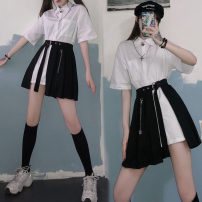 Dress Summer 2020 White shirt * black skirt (Butterfly Pendant) Average size Middle-skirt Two piece set Short sleeve street Polo collar High waist Solid color Socket A-line skirt shirt sleeve Others 18-24 years old Type A Chain, tie, splice, strap, button, zipper 81% (inclusive) - 90% (inclusive)