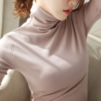 T-shirt 638 ᦇ brick red, 638 ᦇ black, 638 ᦇ white, 638 ᦇ coffee, 638 ᦇ skin red, 601 @ black stripe M,L,XL,2XL,3XL Autumn of 2019 Long sleeves High collar Self cultivation routine commute cotton 96% and above Korean version youth Solid color