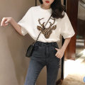 T-shirt 571 # black, 571 # white, 520 @ white blue T-shirt M,L,XL,2XL Summer of 2019 elbow sleeve Crew neck easy Medium length routine commute other 96% and above 18-24 years old originality Animal design printing