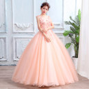 Wedding dress Winter of 2019 orange XXL, s, m, l, XL, customized Korean version Fluffy skirt Bandage Hotel Interior One shoulder organza  Three dimensional cutting sfg158 middle-waisted 18-25 years old flower Sleeveless shawl Other / other Handmade flowers
