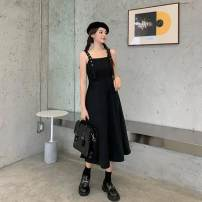 Dress Summer 2021 Black skirt, black skirt, plaid shirt S,M,L,XL,2XL singleton  Sleeveless commute Crew neck Solid color A-line skirt routine camisole 18-24 years old Type A Korean version 51% (inclusive) - 70% (inclusive) polyester fiber