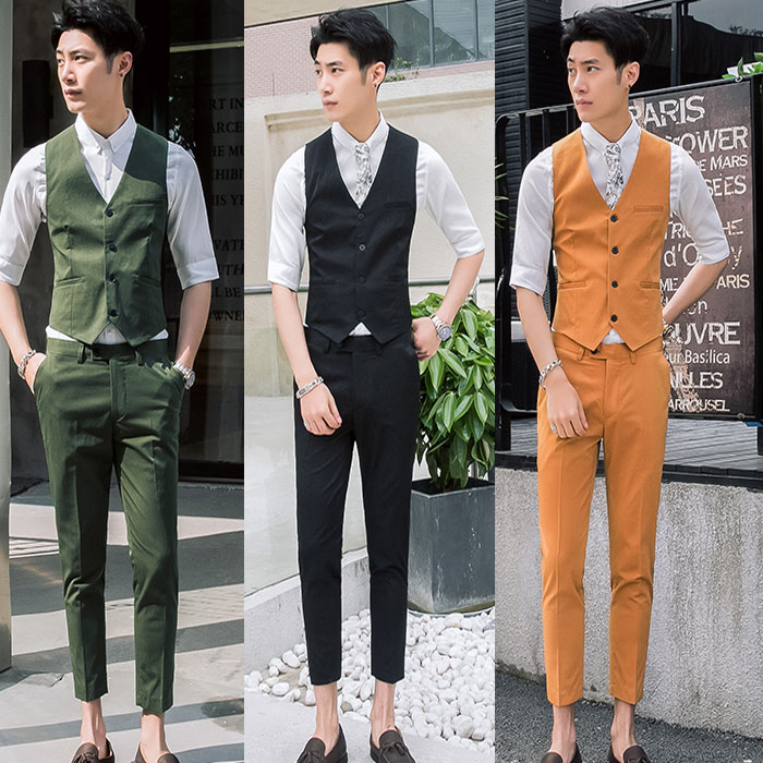 Vest / vest Youth fashion Others White yellow red green dark blue black Other leisure Self cultivation Vest routine Four seasons V-neck youth 2018 Basic public Solid color Single breasted Slant hem No iron treatment nothing