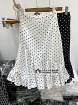 skirt Spring 2021 M,L,XL White, black Mid length dress Versatile High waist A-line skirt Dot Type A More than 95% cotton zipper
