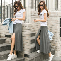 skirt Autumn 2020 S,M,L,XL Black, dark grey longuette commute Natural waist Irregular Solid color Type A 18-24 years old More than 95% other cotton lady 181g / m ^ 2 (including) - 200g / m ^ 2 (including)