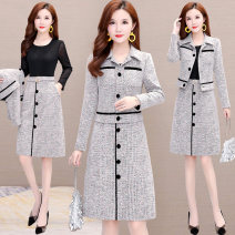 Dress Spring 2021 Flower grey (2-piece set), red check (2-piece set) S,M,L,XL,2XL,3XL,4XL Short skirt Two piece set Long sleeves commute Polo collar High waist Solid color Socket A-line skirt routine Others 35-39 years old Korean version Button polyester fiber
