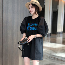 Dress Summer 2021 black S,M,L Short skirt singleton  Short sleeve street Crew neck Loose waist Solid color Socket puff sleeve Others 30-34 years old Type H Saimeiyi 31% (inclusive) - 50% (inclusive) other other Europe and America