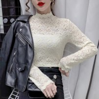 Lace / Chiffon Autumn 2020 Black, off white, dark brown S,M,L,XL,2XL Long sleeves Versatile Socket Self cultivation Crew neck routine 30-34 years old Other / other Print, stitching, lace