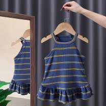 Dress female Tagkita / she and others 80, 90, 100, 110, 120, 130 Cotton 95% other 5% summer Korean version Skirt / vest stripe cotton Pleats FHW622 12 months, 9 months, 18 months, 2 years old, 3 years old, 4 years old, 5 years old, 6 years old, 7 years old, 8 years old Chinese Mainland