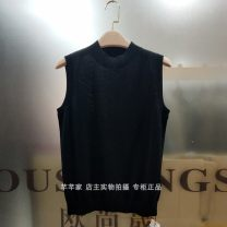 sweater Spring 2020 M,L,XL,2XL Black, emerald green Sleeveless Socket singleton  other 95% and above stand collar commute routine Chanting the waves Yongzhilan y-9115 Tencel