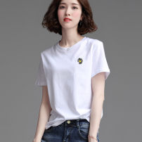 T-shirt White, black, light pink, fruit green S,M,L,XL,2XL Summer 2021 Short sleeve Crew neck easy Regular routine commute cotton 96% and above Korean version youth Plants and flowers, solid color Gorodi Amar Embroidery