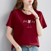 T-shirt Red, white, black, yellow M,L,XL,2XL Summer 2021 Long sleeves Crew neck easy Regular routine commute cotton 96% and above originality Letters, plants, flowers, solid colors Gorodi Amar printing