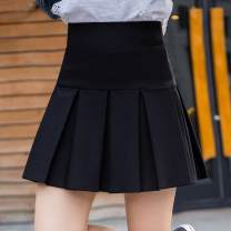 skirt Autumn 2020 S, m, l, XL, 2XL, 3XL Black wide pleat, black fine pleat Short skirt commute High waist Pleated skirt Solid color Type A 91% (inclusive) - 95% (inclusive) other Other / other polyester fiber fold Korean version