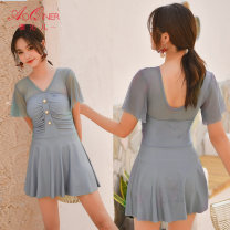 one piece  Aoqiner M [75-100 Jin], l [100-112 Jin], XL [112-128 Jin], XXL [128-140 Jin] Light pink, silver grey, caramel Skirt one piece With chest pad without steel support polyester fiber Z-056179 female Short sleeve Casual swimsuit Solid color Lotus leaf edge