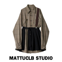Dress Autumn 2020 suit S,M,L,XL Short skirt Two piece set Long sleeves commute Polo collar High waist lattice Single breasted A-line skirt routine 18-24 years old Type H other