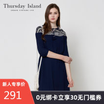 Dress Summer 2017 S XS M Mid length dress singleton  elbow sleeve Sweet V-neck Socket 25-29 years old THURSDAY ISLAND More than 95% other Viscose (viscose) 100% Mori Same model in shopping mall (sold online and offline)