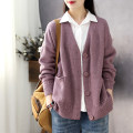 sweater Spring 2021 Average size Brown, dark blue, red, warm purple, warm rice, bright yellow Long sleeves Cardigan singleton  Regular cotton 31% (inclusive) - 50% (inclusive) V-neck Regular commute routine Solid color Straight cylinder Regular wool Keep warm and warm Han Suoyi Button cotton