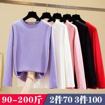 Women's large Autumn 2020 5005 off white, 5005 black, 5005 pink, 5005 red, 5005 purple Large L (95-120 kg), large XL (125-140 kg), large 2XL (145-160 kg), large 3XL (165-180 kg), large 4XL (180-200 kg) T-shirt singleton  commute easy moderate Socket Long sleeves Korean version Crew neck routine