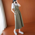 Dress Summer 2021 Army green M,L,XL,2XL Mid length dress Sleeveless commute Solid color A-line skirt straps literature Pocket, lace up, panel, button cotton