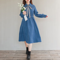 Dress Autumn 2020 Denim blue M,L,XL,2XL Mid length dress singleton  Long sleeves commute Polo collar Elastic waist Solid color Socket A-line skirt routine Others Type A literature Frenulum 51% (inclusive) - 70% (inclusive) corduroy polyester fiber
