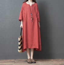 Dress Summer of 2019 Black, red, green M,L,XL,2XL Mid length dress singleton  Nine point sleeve commute Loose waist Solid color Socket Irregular skirt routine literature 51% (inclusive) - 70% (inclusive) hemp