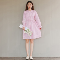 Dress Autumn 2020 Light green, pink S,M,L,XL,2XL Mid length dress singleton  Long sleeves commute stand collar Decor Single breasted A-line skirt puff sleeve literature Auricularia auricula, lace, bandage, printing 31% (inclusive) - 50% (inclusive) cotton