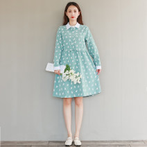 Dress Autumn 2020 Yellow, emerald green S,M,L,XL,2XL Mid length dress singleton  Long sleeves commute Polo collar Single breasted A-line skirt shirt sleeve literature Lace up, stitching, bandage, button 31% (inclusive) - 50% (inclusive) corduroy cotton
