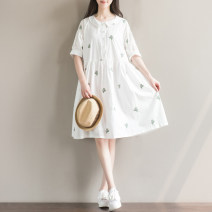 Dress Summer 2021 M,L,XL,2XL Mid length dress singleton  Short sleeve commute square neck Loose waist Decor Single breasted A-line skirt bishop sleeve Others 18-24 years old literature Embroidery, lace up 51% (inclusive) - 70% (inclusive) cotton