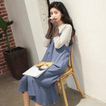 Dress Autumn 2020 Grey blue stripe S,M,L longuette singleton  Sleeveless commute V-neck Loose waist stripe Socket Ruffle Skirt other camisole Other / other Korean version 51% (inclusive) - 70% (inclusive) polyester fiber