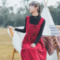 Dress Autumn 2020 Red single skirt, apricot single skirt, black sweater with red skirt, black sweater with apricot skirt S,M,L,XL Mid length dress singleton  Long sleeves commute square neck High waist Solid color Socket Pleated skirt Type A literature Button corduroy