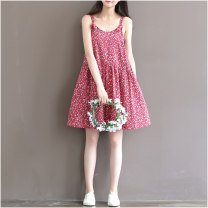 Dress Summer 2021 Red floral suspender skirt S,M,L,XL,2XL Mid length dress singleton  Sleeveless Sweet Crew neck Loose waist Decor Socket Princess Dress routine camisole 18-24 years old Type A 51% (inclusive) - 70% (inclusive) Mori