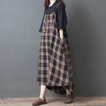 Dress Summer of 2019 brown Average size Mid length dress singleton  Sleeveless commute Loose waist lattice Socket camisole Type A Other / other Korean version 51% (inclusive) - 70% (inclusive) hemp