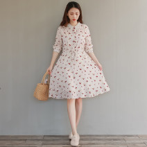 Dress Autumn 2020 Picture color M,L,XL,2XL Mid length dress singleton  Long sleeves commute Polo collar middle-waisted Broken flowers Single breasted A-line skirt routine Type A literature printing 81% (inclusive) - 90% (inclusive) other cotton