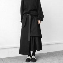 skirt Winter 2020 S,M,L black longuette Versatile Natural waist A-line skirt Solid color Type A 91% (inclusive) - 95% (inclusive) other cotton