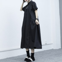 Dress Summer 2021 Black, white One size fits all Mid length dress singleton  Short sleeve commute other Loose waist Solid color Single breasted Big swing routine Others Type H Tagkita / she and others Retro 91% (inclusive) - 95% (inclusive) Cellulose acetate