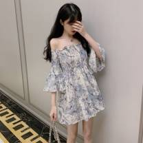 Dress Summer 2021 Picture color S,M,L,XL,2XL Short skirt singleton  Nine point sleeve commute One word collar High waist Broken flowers A-line skirt Lotus leaf sleeve 18-24 years old Type A Korean version