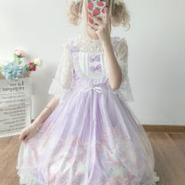 Dress Summer of 2019 Pink jsk, apricot jsk, blue jsk, purple jsk, white undergarment, veil One size fits all, XXS pre-sale Mid length dress Two piece set Sleeveless Sweet One word collar 18-24 years old Type A Other / other Lolita