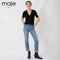 Wool knitwear Autumn of 2019 T2 T3 T1 black Short sleeve Viscose 51% (inclusive) - 70% (inclusive) have cash less than that is registered in the accounts routine Self cultivation V-neck MFPPU00338 25-29 years old MAJE Same model in shopping mall (sold online and offline)