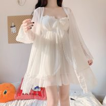 Nightgown / bathrobe Other / other female Average size Two piece set Thin money princess Iced silk summer Medium length (knee to Mid Calf) Chiffon Solid color youth suit lace