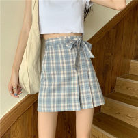 skirt Spring 2021 S,M,L Blue grid, purple grid Short skirt Versatile High waist A-line skirt lattice Type A 18-24 years old 2802# 51% (inclusive) - 70% (inclusive) other