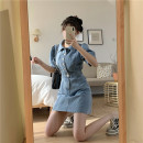 Dress Summer 2021 Picture color S,M,L Short skirt singleton  Short sleeve Polo collar High waist Single breasted A-line skirt 18-24 years old Type A Denim
