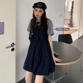 Fashion suit Summer 2021 Average size Blue suspender skirt s, blue suspender skirt m, grey shirt + tie 18-25 years old Other / other