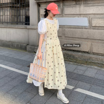 Dress Summer 2021 Floral vest skirt, white dress Average size Mid length dress Two piece set Short sleeve commute Crew neck High waist Solid color Socket A-line skirt puff sleeve Others 18-24 years old Type A Other / other Korean version 51% (inclusive) - 70% (inclusive)